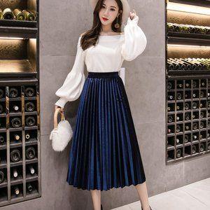 High Waist Formal Long Maxi Pleated Skirt
